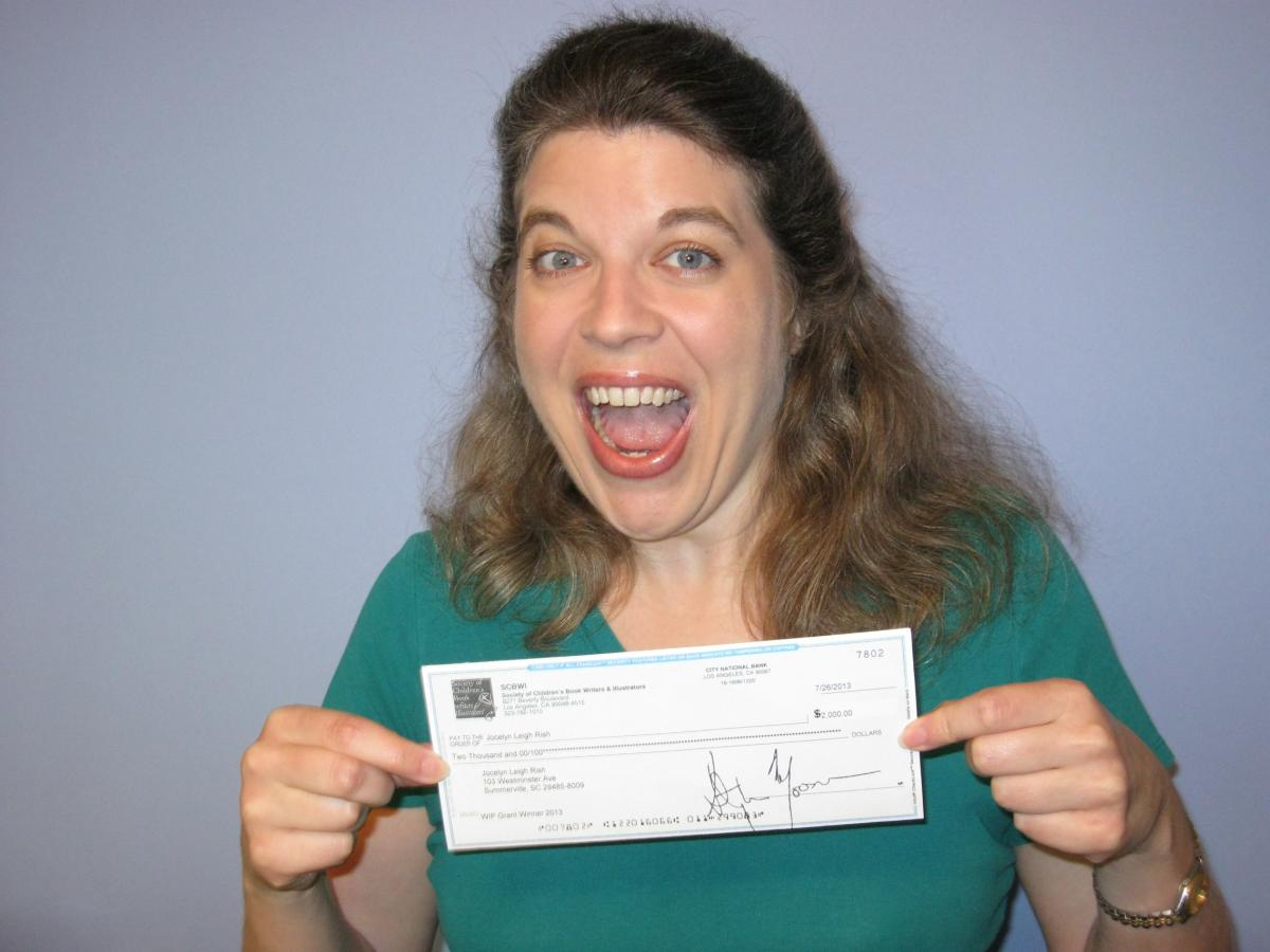 Jocelyn with check from SCBWI